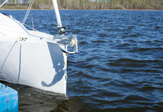 Part of the white yacht in the water background. royalty free stock photos