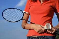 Part of woman body with a racket Stock Photography