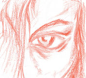 Part of woman face. Sketch part of woman face , by chalk Royalty Free Stock Photography