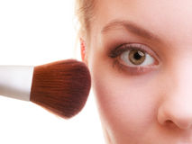 Part of woman face applying rouge blusher makeup detail. Stock Photography