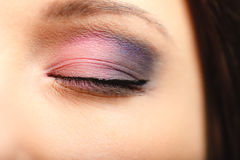 Part of woman face eye with eyeshadow makeup detail. Royalty Free Stock Photography