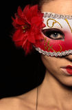 Woman in red mask. Part of woman face in red mask Stock Image