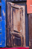 Part of a wooden door different types of wood Royalty Free Stock Photo