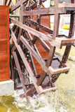 A part of Wooden wheel. Shoen at public garden in Supanburi province, Thailand Stock Photo