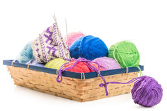 Part of the wool socks handcrafted in the basket Stock Image