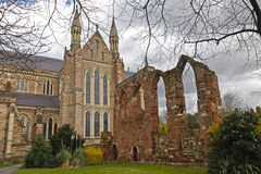 Part of Worcester Cathedral with ruins Stock Photo