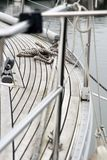 Part of a Yacht. Parts of a Yacht or Sailboat with focus on the rope Stock Photography