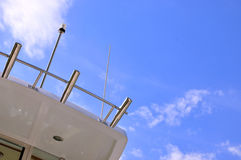 Part of yacht body under blue sky Royalty Free Stock Image