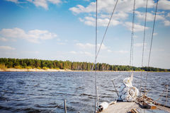 Part of yacht in river at sunny day Royalty Free Stock Photos