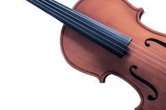 Part of the yellow violin on white background with space for text writing Stock Images
