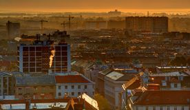 Zagreb roofs with fog in sunrise Stock Images