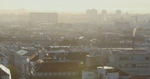 Part of Zagreb roofs with fog in sunrise stock video footage