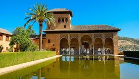 Partal in Alhambra, Granada Stock Afbeeldingen