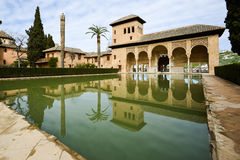 The Partal gardens of Alhambra in Granada Royalty Free Stock Images