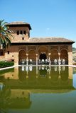 Partal gardens, Alhambra Palace. View of the Partal gardens with the building reflected in the pool, Palace of Alhambra, Granada, Granada Province, Andalusia Stock Image