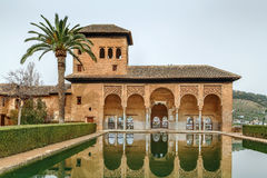 Partal Palace, Alhambra, Granada. Partal Palace with pool in Alhambra garden, Granada, Spain Royalty Free Stock Images