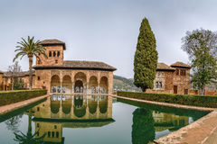 Partal Palace, Alhambra, Granada. Partal Palace with pool in Alhambra garden, Granada, Spain Stock Photo