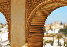 Partal palace, Alhambra in Granada, Spain. Arab architecture, detail of Partal palace located within the grounds of the Alhambra in Granada, Andalucia, Spain Stock Photography