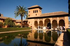Partal palace reflected in the pool, Alhambra Palace. Granada. royalty free stock image