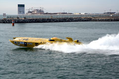 Partcipant of Dubai Grand Prix. Another power boating team boat in the Dubai Grand Prix of World Power Boating event Stock Photography