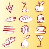 Parte 1 rossa delle icone dell'alimento Immagine Stock