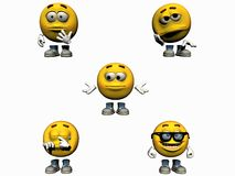 parte 3 da coleção do Emoticon 3d Imagens de Stock