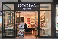 Parte anteriore del deposito di Godiva fotografie stock