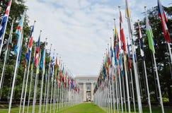 parte anteriore dell'ufficio delle nazioni unite a Ginevra Fotografie Stock Libere da Diritti