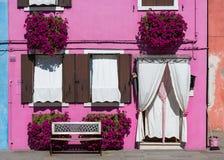 Parte anteriore della casa sull'isola di Burano Fotografia Stock Libera da Diritti