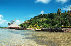 Parte anteriore della spiaggia in Polinesia francese fotografia stock libera da diritti