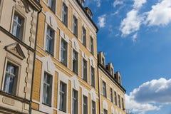 Parte anteriore delle costruzioni in una vecchia città in Germania Fotografie Stock Libere da Diritti