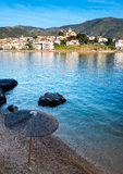 Parte anteriore di mare della città di Galaxidi Fotografie Stock