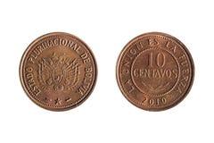 Parte anteriore e parte posteriore di una moneta da dieci centesimi di dollaro boliviana Fotografia Stock