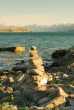 Parte anteriore impilata del lago Wanaka della roccia immagini stock