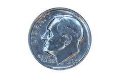 Parte anteriore isolata della moneta da dieci centesimi di dollaro degli Stati Uniti Immagine Stock