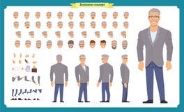 Parte anteriore, lato, carattere animato di vista posteriore  illustrazione di stock