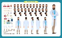 Parte anteriore, lato, carattere animato di vista posteriore Creazione del carattere di medico messa con le varie viste royalty illustrazione gratis