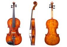 Parte anteriore, lato e vista posteriore di un violino Fotografia Stock Libera da Diritti
