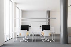 Parte anteriore moderna bianca dell'ufficio dello spazio aperto Immagini Stock