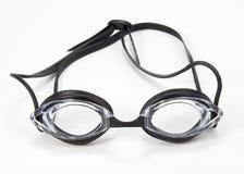 Parte anteriore nera degli occhiali di protezione di nuoto Fotografia Stock Libera da Diritti