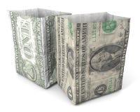 Parte anteriore posteriore del dollaro del sacco di carta Fotografia Stock Libera da Diritti