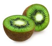 Parte ao meio o kiwifruit sobre o branco fotografia de stock royalty free