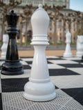 Parte branca, em tamanho natural do bispo no grupo de xadrez Imagens de Stock