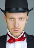 Parte-chapéu masculino do smoking do retrato Imagens de Stock