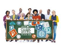 Parte che divide concetto online di download della rete sociale di media Immagini Stock Libere da Diritti