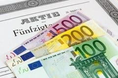 Parte com cédulas do Euro imagens de stock royalty free
