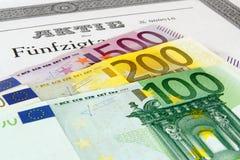 Parte com cédulas do Euro imagens de stock