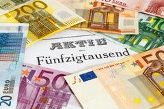 Parte com cédulas do Euro fotografia de stock royalty free