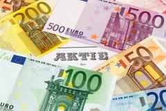 Parte com cédulas do Euro imagem de stock