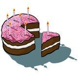 Parte congelada bolo do corte do aniversário Fotos de Stock Royalty Free